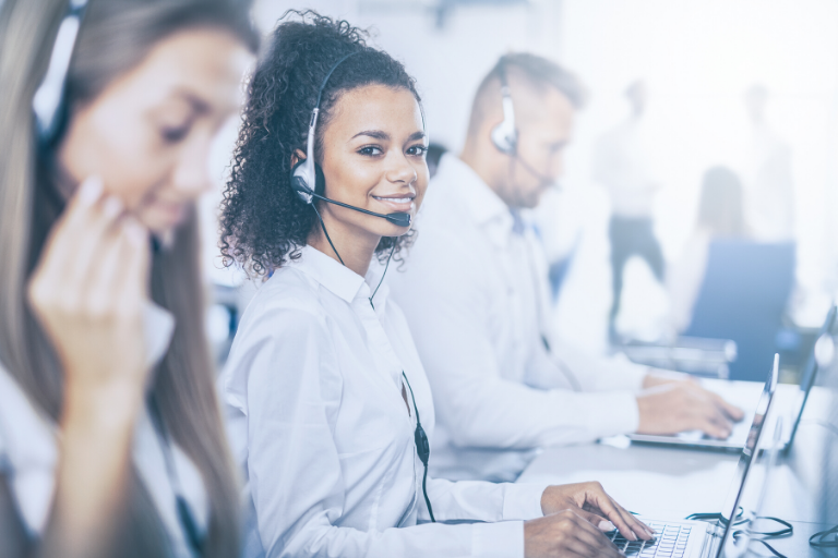 woman working at computer help desk
