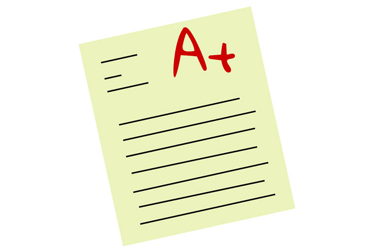 icon of a paper with an A plus grade